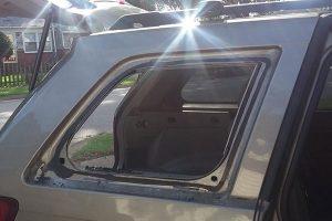 broken side window on car